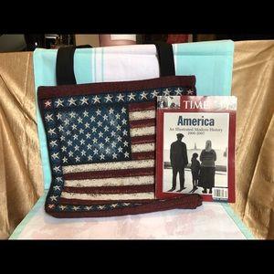 USA tapestry tote & modern history magazine